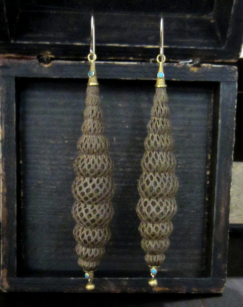 Victorian Long Hairwork Earrings 18k c. 1870