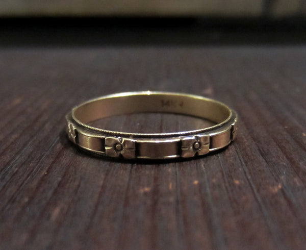 Art Deco 3mm Patterned Wedding Band 14k, Size 9.5!  c. 1930