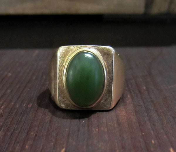 Vintage Men's Jade Ring 14k c. 1970