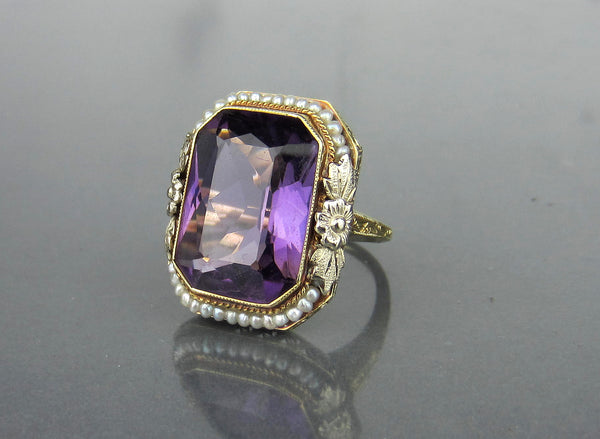 Late Edwardian Amethyst and Seed Pearl Ring 14k c. 1915