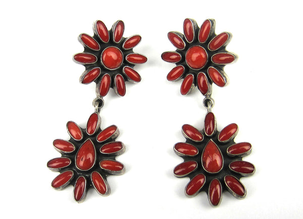 Bold Vintage Coral Cluster Earrings Sterling Silver, Federico Jimenez c. 1980