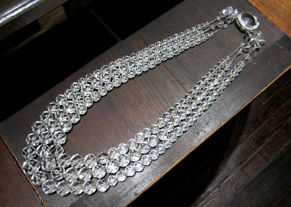 Art Deco Graduated Rock Crystal Three Strand Necklace Silver c. 1940