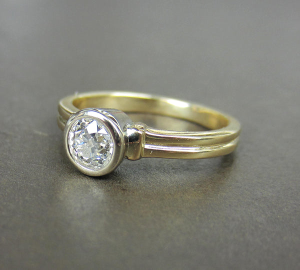 Vintage Bezel Set Old Mine Diamond .52ct Engagement Ring 14k