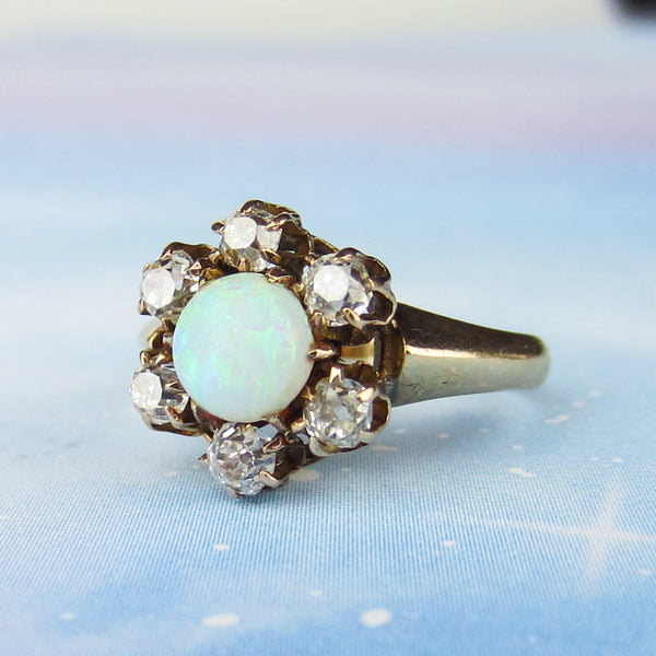 SOLD— Victorian Opal and Old Mine Diamond Cluster Ring 14k c. 1880
