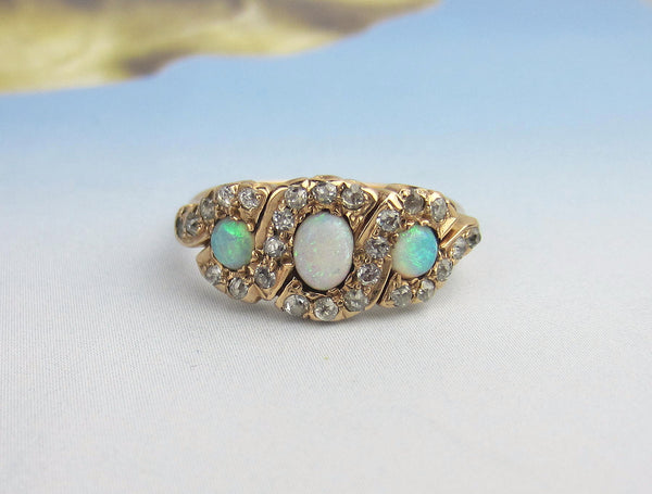 Victorian Opal and Diamond Ring 14k c. 1900