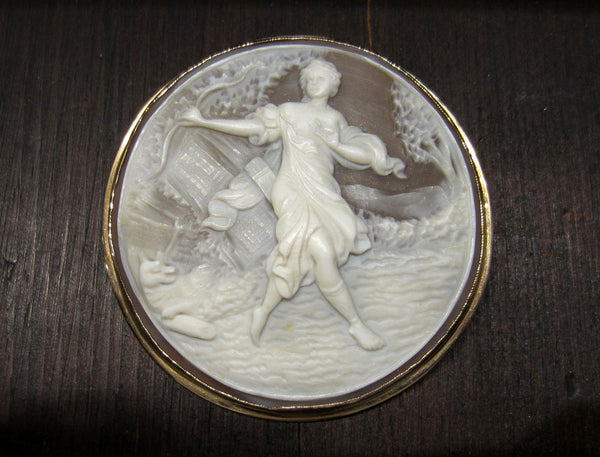 SOLD--Vintage Diana the Huntress Shell Cameo Brooch/Pendant 14k, c. 1960