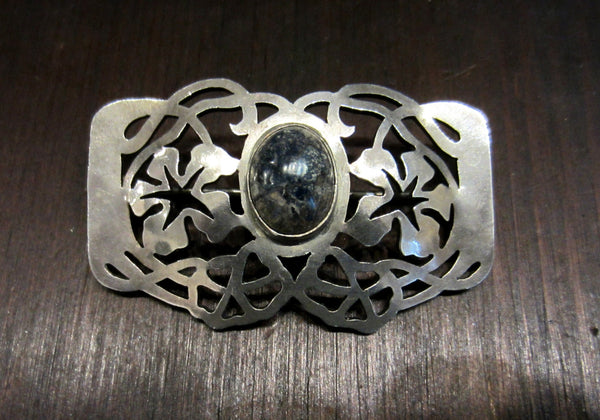 Arts & Crafts Blue Jasper Flower Brooch Sterling c. 1900