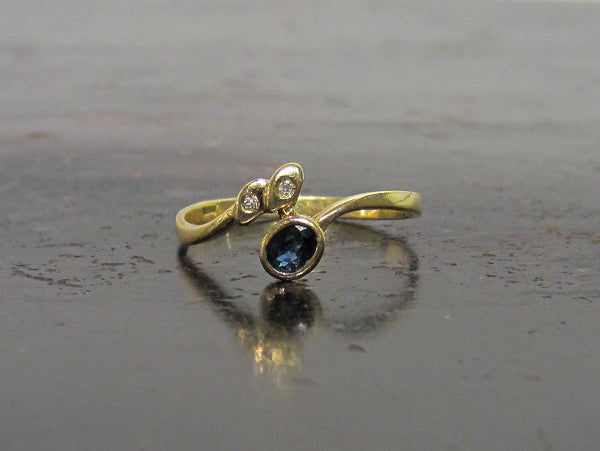Vintage Sapphire and Diamond Bypass Ring 18k, Italy c. 1980