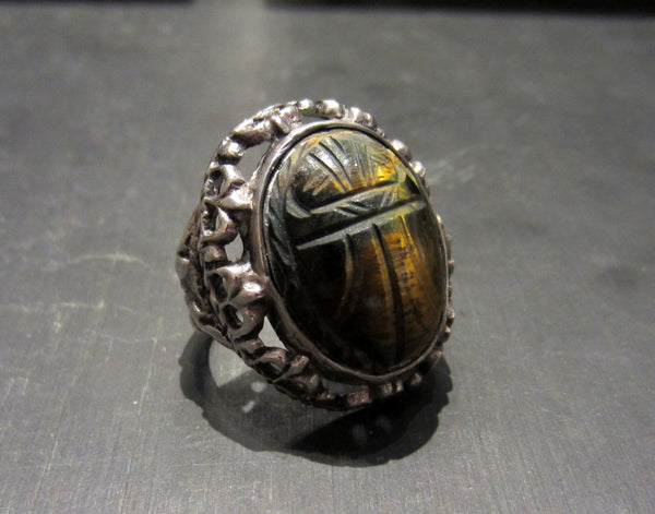 Art Deco Egyptian Revival Tiger's Eye Scarab Ring 800 Silver c. 1925--SOLD
