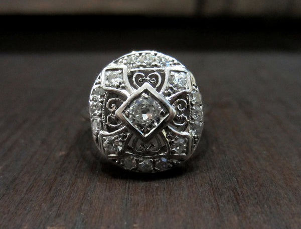 SOLD:  Art Deco Old European .25ct Oval Openwork Ring Platinum/14k
