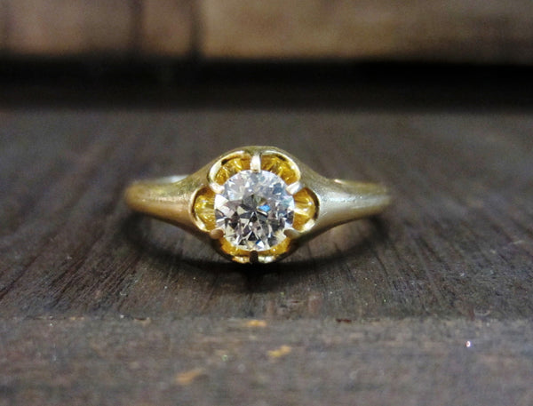 SOLD---Edwardian Old European .50ct GHVS1 Diamond Ring 18k c. 1910