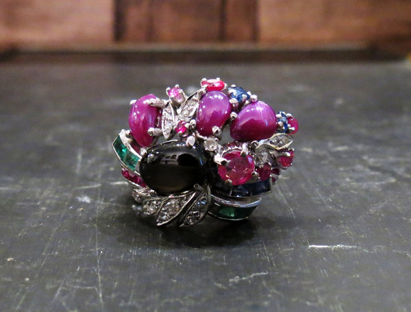 Mid-Century Tutti Frutti Multi-Gemstone Ring in 18k c. 1950