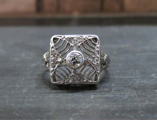 Art Deco Old European Diamond Square Filigree Ring 18k c. 1920