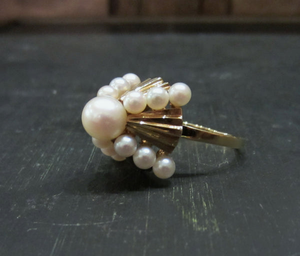 Mid-Century Mikimoto Pearl Pyramid Cocktail Ring 14k