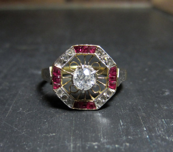 Art Deco Diamond and Ruby Frame Ring 14k c. 1920
