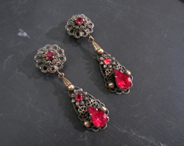 Art Deco Red Glass Filigree Drop Earrings Brass c. 1940