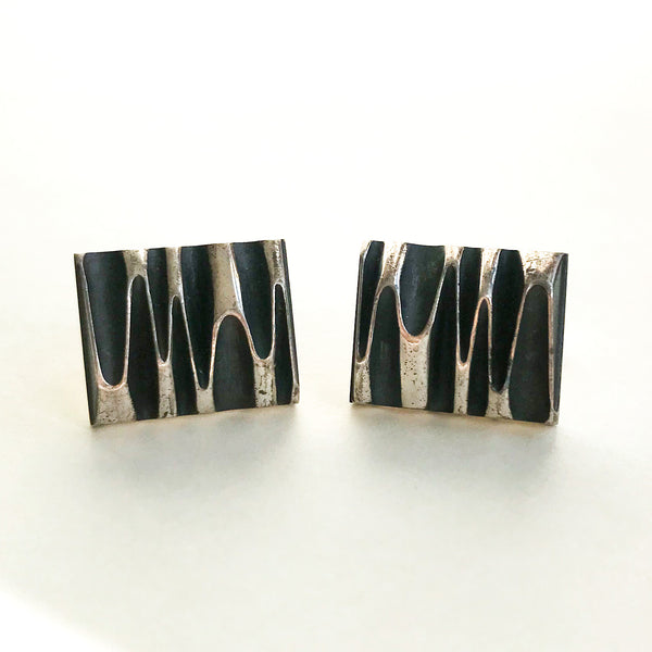 Modernist Sculptural Cufflinks Sterling, Harold Fithian c. 1960
