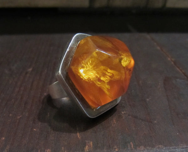 Modernist Amber Ring Sterling c. 1970