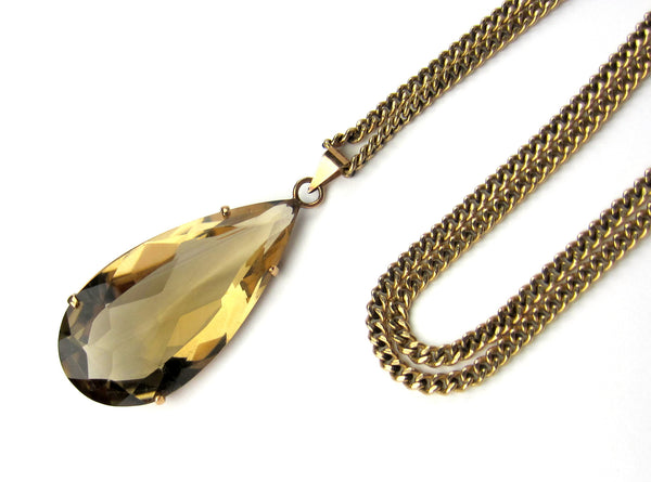 Vintage Pear Shape Smoky Citrine Necklace 14k c. 1970
