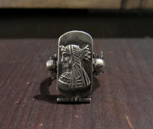 Vintage Egyptian Revival Pharaoh Ring Sterling c. 1960