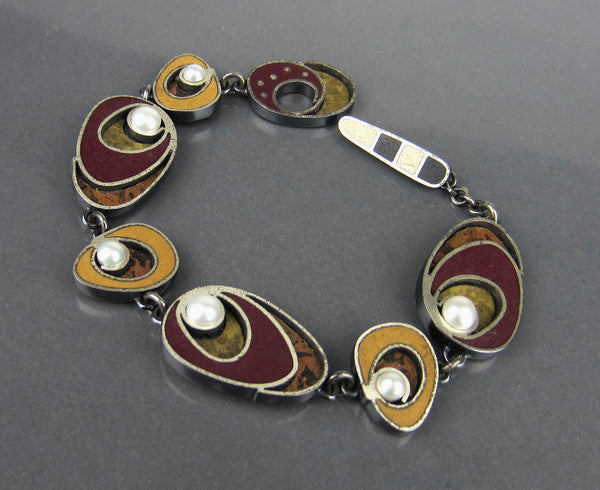 Post-Modern Enamel and Cultured Pearl Bracelet Sterling Silver c. 1990