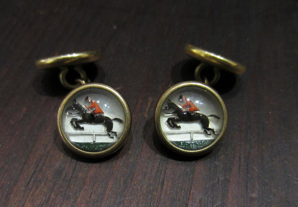 Art Deco Reverse Painted Glass Foxhunt Cufflinks Gold-filled c. 1930