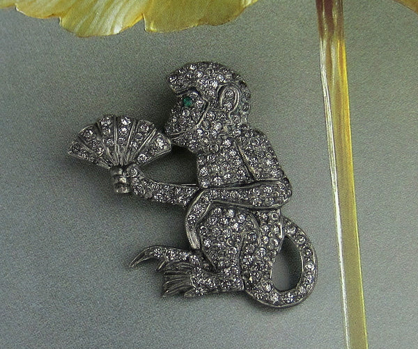 Early Art Deco Paste Monkey Brooch Silver c. 1920--SOLD