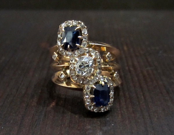 Exquisite French Belle Epoque Diamond and Sapphire Ring 18k c. 1900