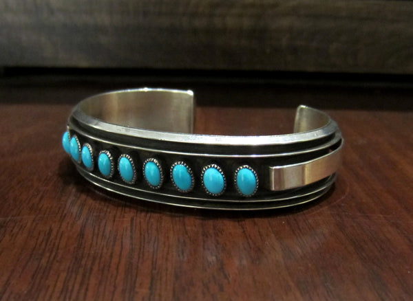 SOLD--Vintage Turquoise Cuff Bracelet Sterling Silver c. 1970
