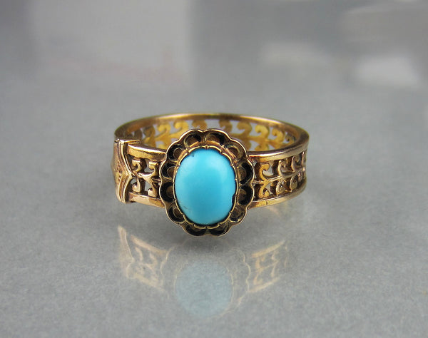 Victorian Turquoise and Enamel Ring 14k c. 1860