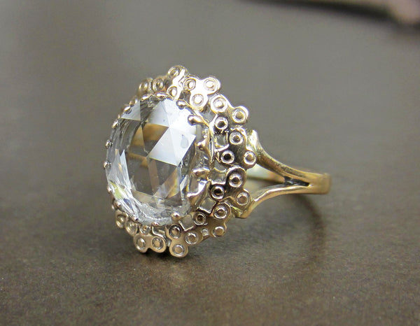 SOLD--Antique Giant Rose Cut Diamond Ring 18k