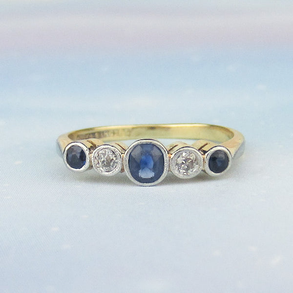 Edwardian Bezel Set Sapphire and Old European Diamond Band Platinum/18k c. 1915
