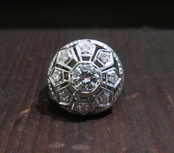 Late Deco/Early Retro Diamond Star Flower Ring 14k c. 1940