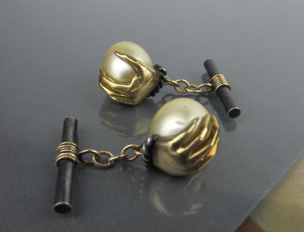 Mid-Century Hand Holding a Pearl Egg Cufflinks 18k and Sterling c. 1960