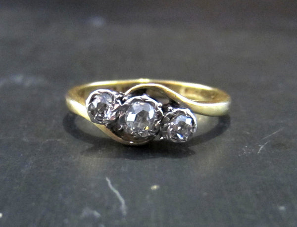 Edwardian Three Old Mine Cut Diamond Ring Platinum/18k c. 1910
