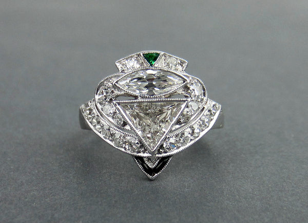 Art Deco Triangular Step Cut and Marquise Cut Diamond Ring Platinum c. 1930