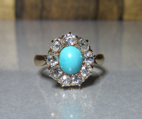 SOLD--Victorian Turquoise and Old Mine Diamond Cluster Ring 14k c. 1890