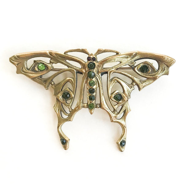 Art Nouveau Paste Butterfly Brooch Gold-Filled c. 1890