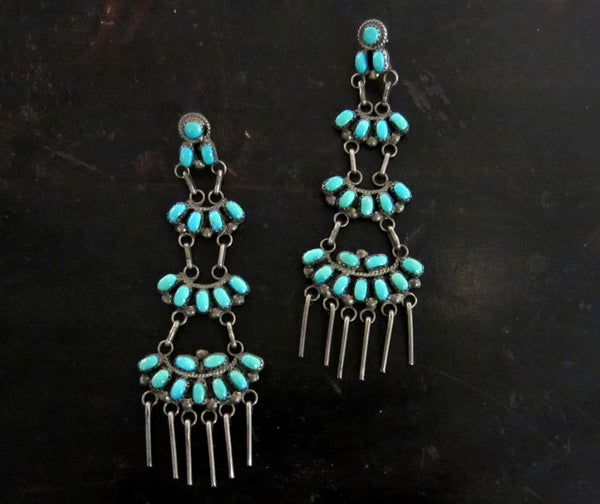 SOLD— Vintage Long Zuni Turquoise Earrings Sterling Silver c. 1940