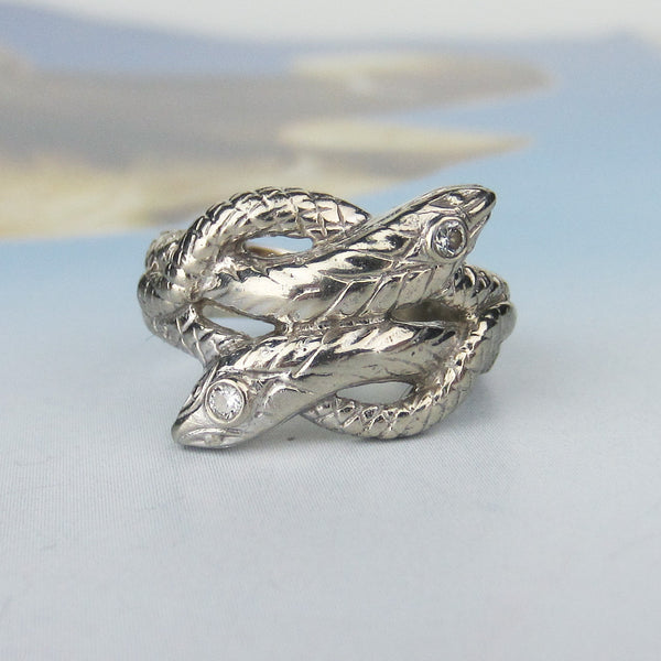 Vintage Diamond Double Snake Ring 14k c. 1950
