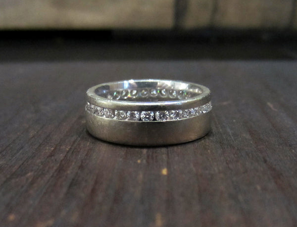 Estate Wide Diamond Eternity Band 18k, Birks -- Size 4.75