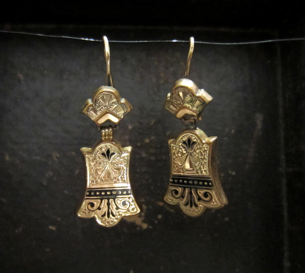 SOLD--Victorian Tracery Enamel Earrings Gold-filled c. 1880