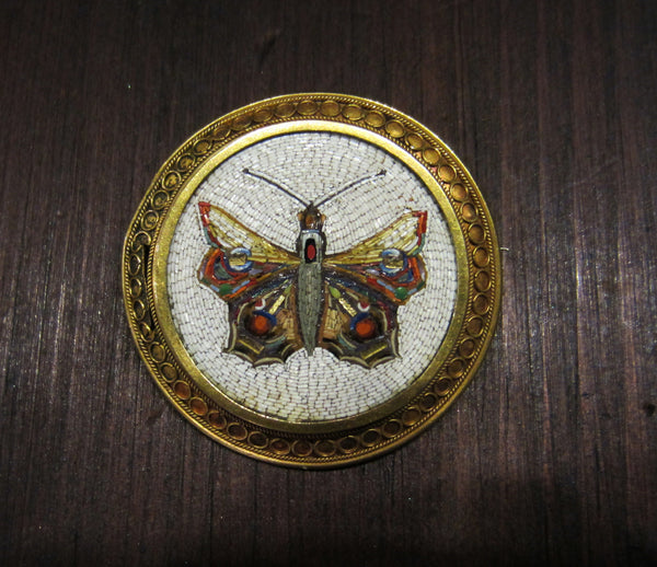 SOLD--Antique Micro Mosaic Brooch, Victorian Moth in 18k c. 1870