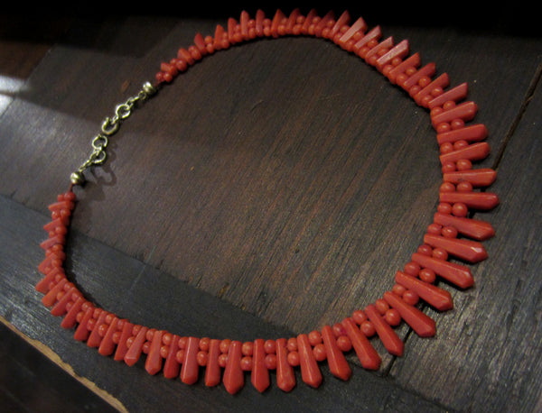 Victorian Faceted Sardinian Coral Necklace c. 1860