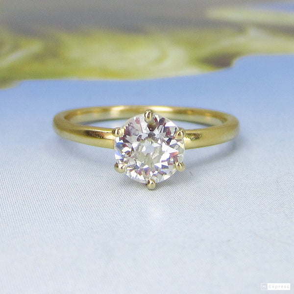 Edwardian Old European .75ct Engagement Ring 18k, Kohn c. 1900