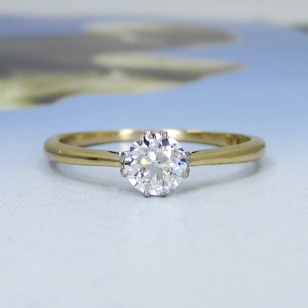 Edwardian Old European .53ct Diamond Engagement Ring Plat/18k c. 1910