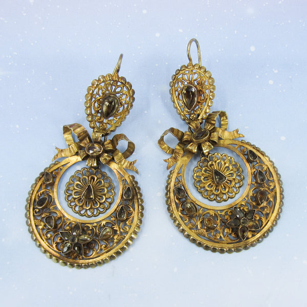Victorian Foil-Backed Citrine Pendeloque Day/Night Earrings 22k c. 1850