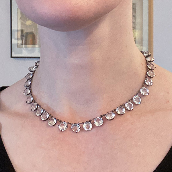 Art Deco Crystal Collar Necklace Sterling c. 1939