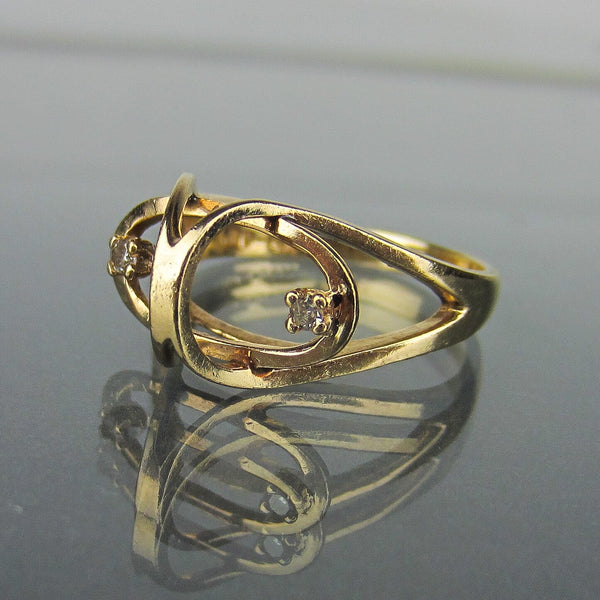 Modernist Diamond Sculptural Ring 14k c. 1960
