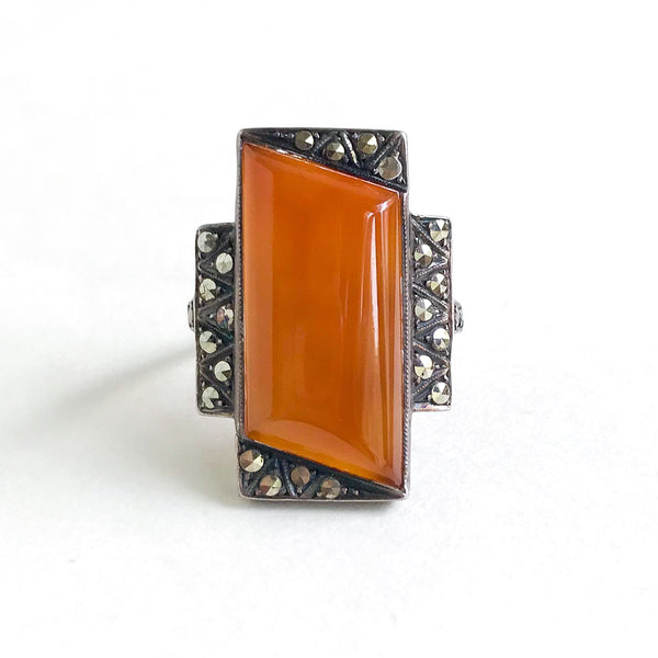 Art Deco Long Carnelian and Marcasite Ring Sterling c. 1930
